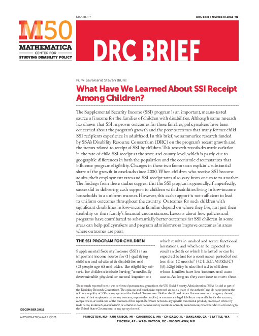 What Have We Learned About SSI Receipt Among Children?