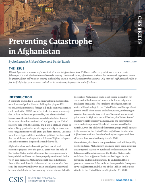 Preventing Catastrophe in Afghanistan