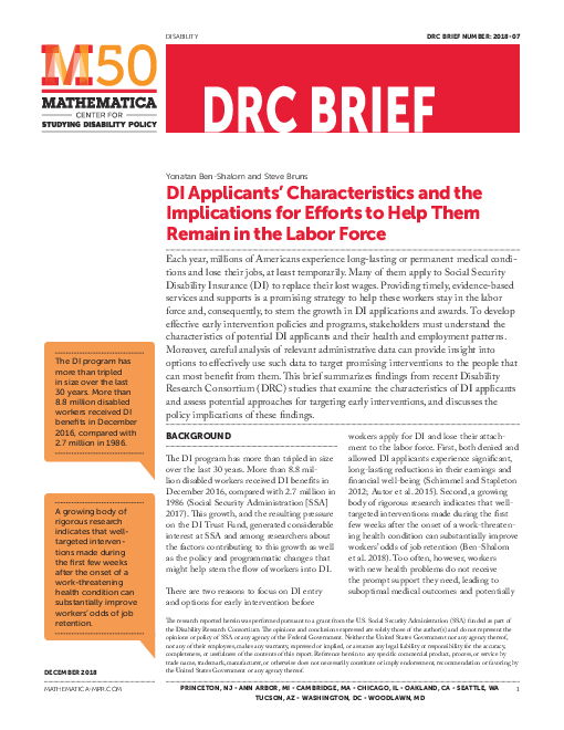 DI Applicants' Characteristics and the Implications for Efforts to Help Them Remain in the Labor Force
