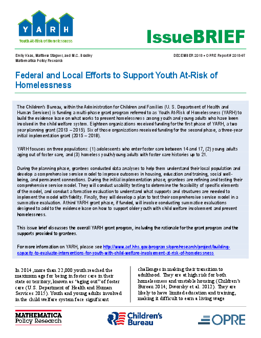 Federal and Local Efforts to Support Youth At-Risk of Homelessness