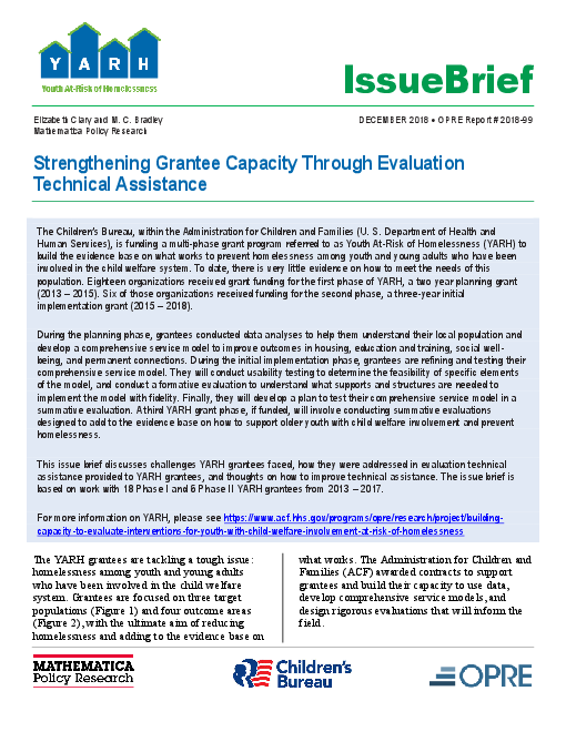 Strengthening Grantee Capacity Through Evaluation Technical Assistance