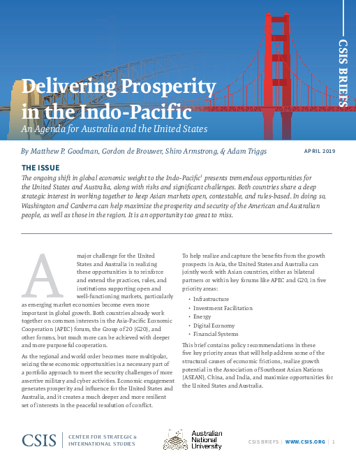 Delivering Prosperity in the Indo-Pacific: An Agenda for Australia and the United States