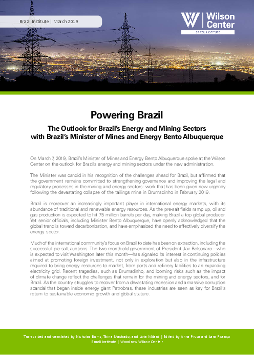 Powering Brazil: The Outlook for Brazil's Energy and Mining Sectors with Brazil's Minister of Mines and Energy Bento Albuquerque