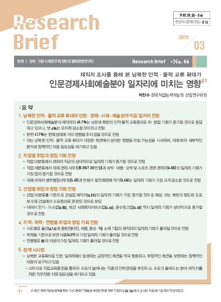 재직자 조사를 통해 본 남북한 인적·물적 교류 확대가 인문경제사회예술분야 일자리에 미치는 영향