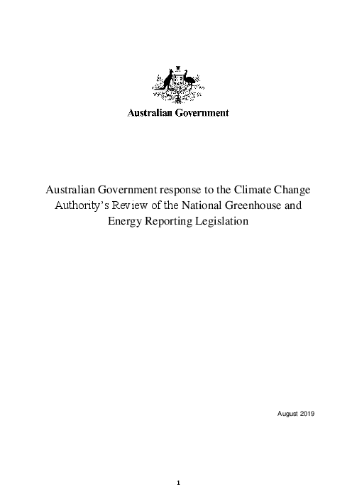 Australian Government response to the Climate Change Authority's Review of the National Greenhouse and Energy Reporting Legislation