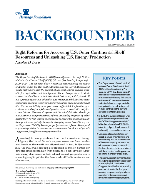 Right Reforms for Accessing U.S. Outer Continental Shelf Resources and Unleashing U.S. Energy Production