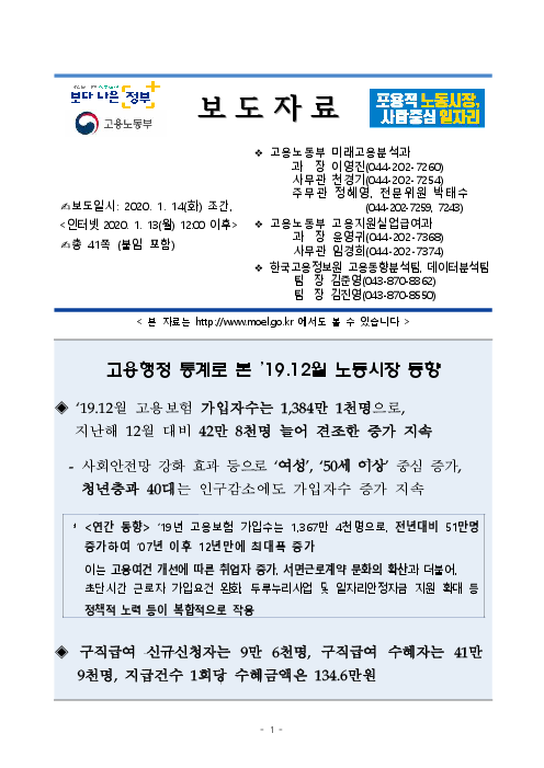 (보도자료) 고용행정 통계로 본 '19.12월 노동시장 동향