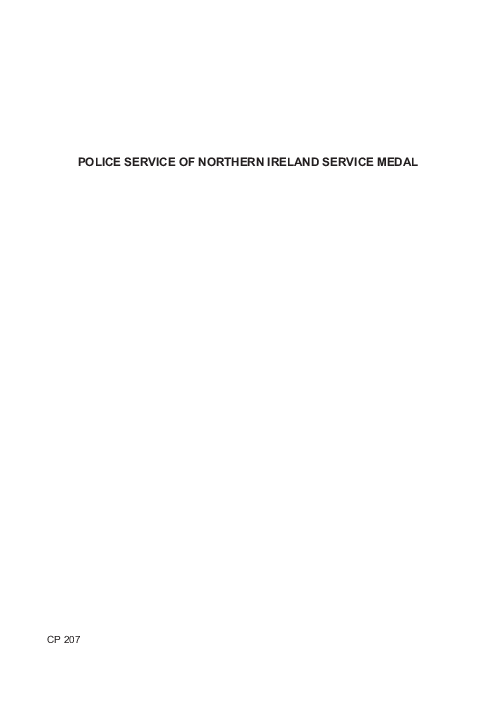 Police service of Northern Ireland Service Medal