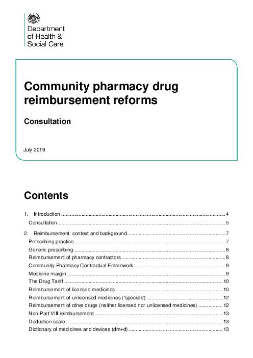 Community pharmacy drug reimbursement reforms: Consultation