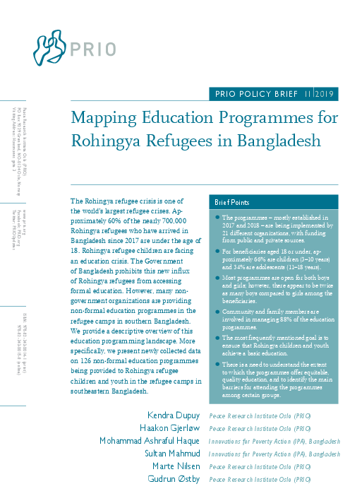 Mapping Education Programmes for Rohingya Refugees in Bangladesh