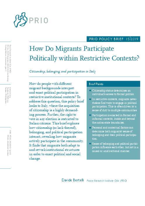 How Do Migrants Participate Politically within Restrictive Contexts? Citizenship, Belonging, and Participation in Italy