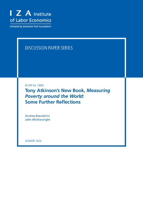 Tony Atkinson's New Book, Measuring Poverty around the World: Some Further Reflections