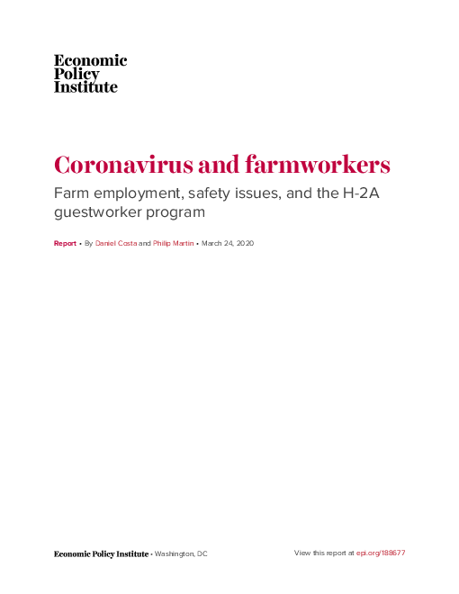 Coronavirus and farmworkers: Farm employment, safety issues, and the H-2A guestworker program