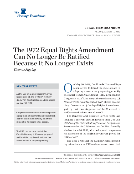 The 1972 Equal Rights Amendment Can No Longer Be Ratified-Because It No Longer Exists