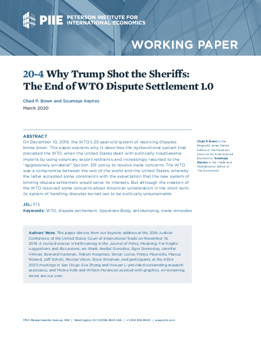 Why Trump shot the sheriffs: The end of WTO dispute settlement 1.0