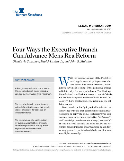 Four Ways the Executive Branch Can Advance Mens Rea Reform