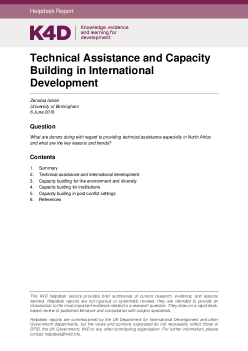Technical Assistance and Capacity Building in International Development