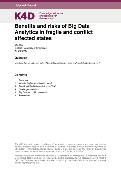 Benefits and risks of Big Data Analytics in fragile and conflict affected states