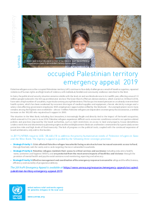 Occupied Palestinian territory emergency appeal 2019