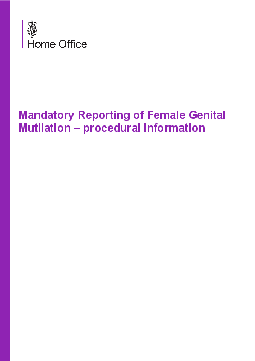 Mandatory Reporting of Female Genital Mutilation – procedural information