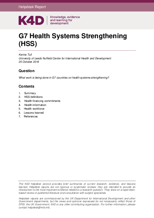 """G7 <span class=""""accent"""">Health</span> Systems Strengthening (HSS)"""