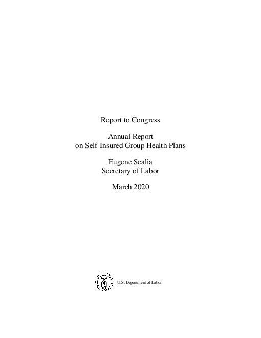 """의회 제출 보고서 : 자가보험 그룹의 <span class=""""accent"""">건강</span>보험에 대한 연례 보고서, 2020년 3월 (Report to Congress: Annual Report on Self-Insured Group <span class=""""accent"""">Health</span> Plans, March 2020)"""