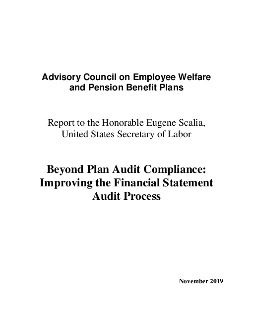 Beyond Plan Audit Compliance: Improving the Financial Statement Audit Process
