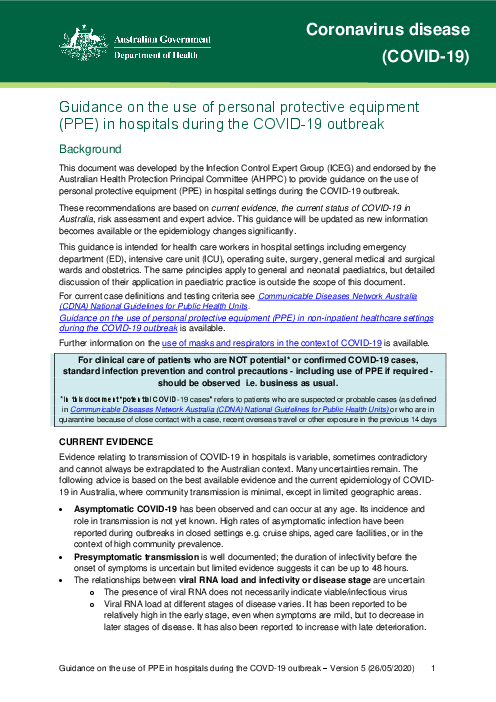 Guidance on the use of personal protective equipment (PPE) in hospitals during the COVID-19 outbreak