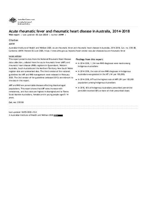 Acute rheumatic fever and rheumatic heart disease in Australia, 2014–2018