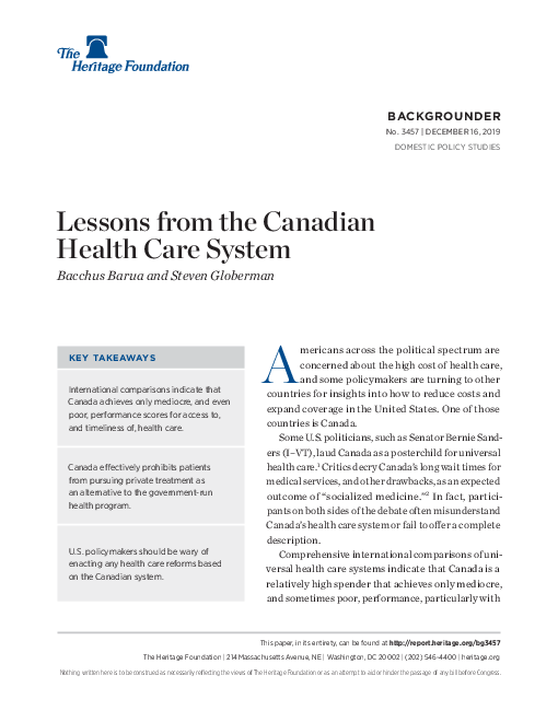 Lessons from the Canadian Health Care System