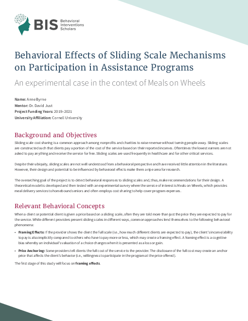 Behavioral Effects of Sliding Scale Mechanisms on Participation in Assistance Programs: An experimental case in the context of Meals on Wheels