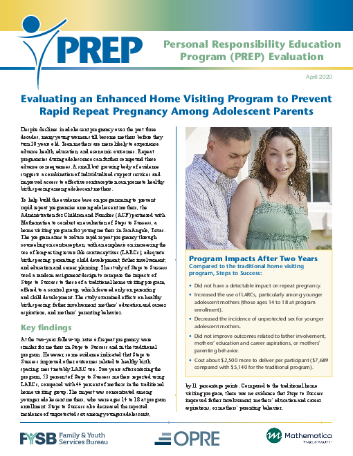 Evaluating an Enhanced Home Visiting Program to Prevent Rapid Repeat Pregnancy Among Adolescent Parents