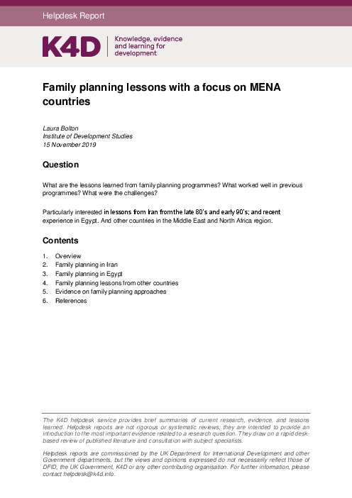 Family planning lessons with a focus on MENA countries