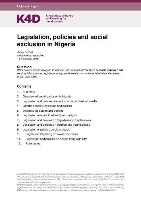 Legislation, policies and social exclusion in Nigeria