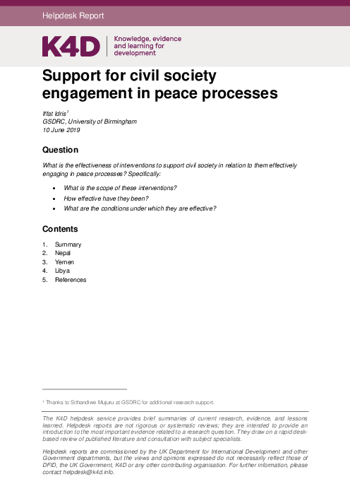 Support for civil society engagement in peace processes