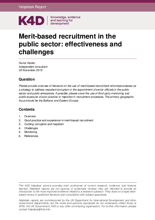 Merit-based recruitment in the public sector: effectiveness and challenges
