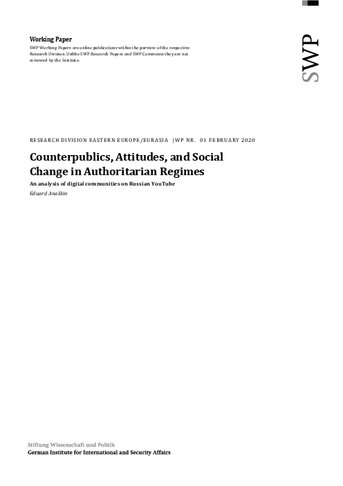 Counterpublics, Attitudes, and Social Change in Authoritarian Regimes: An analysis of digital communities on Russian YouTube